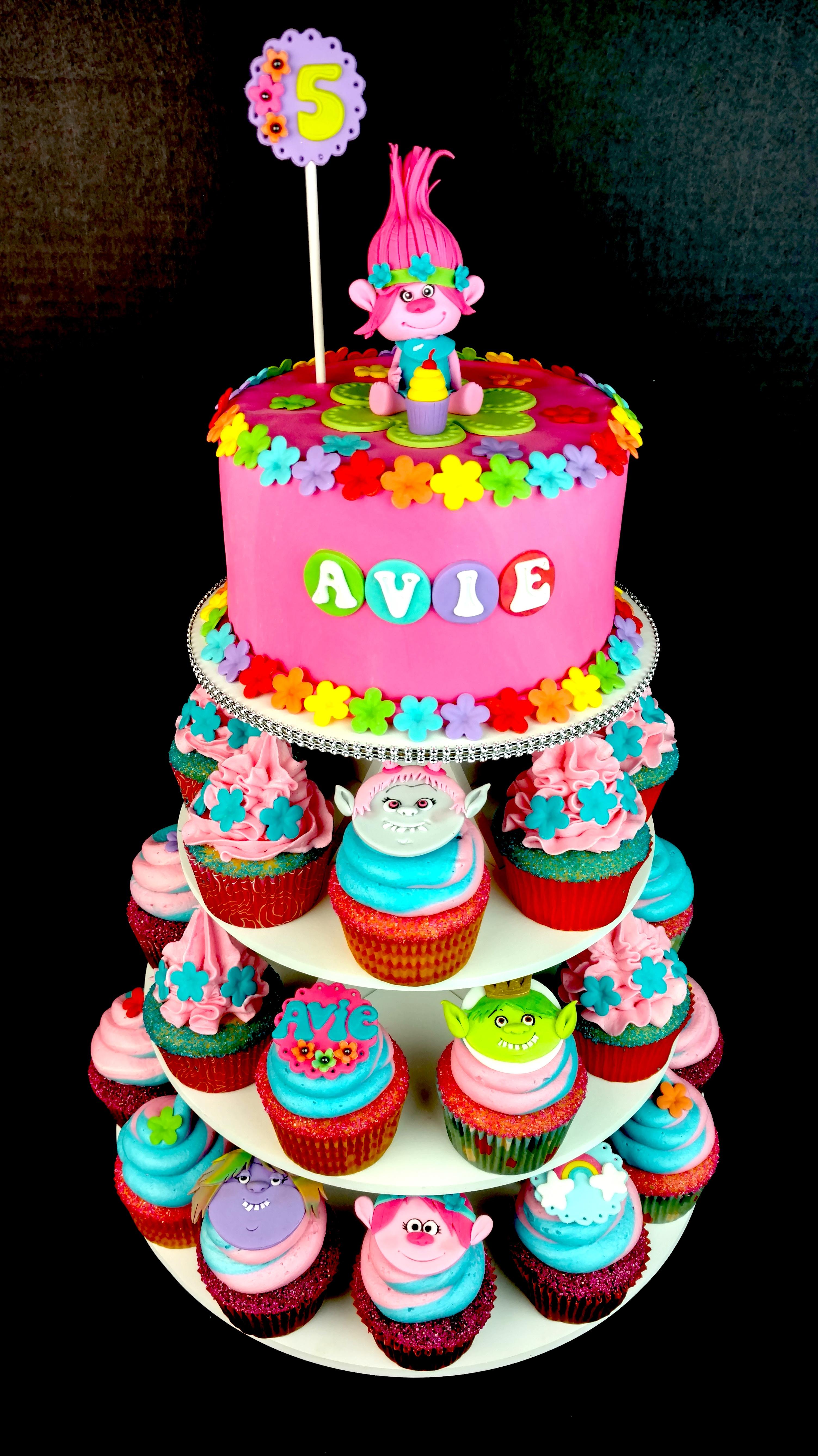 Avie's Trolls Cake and Cupcakes