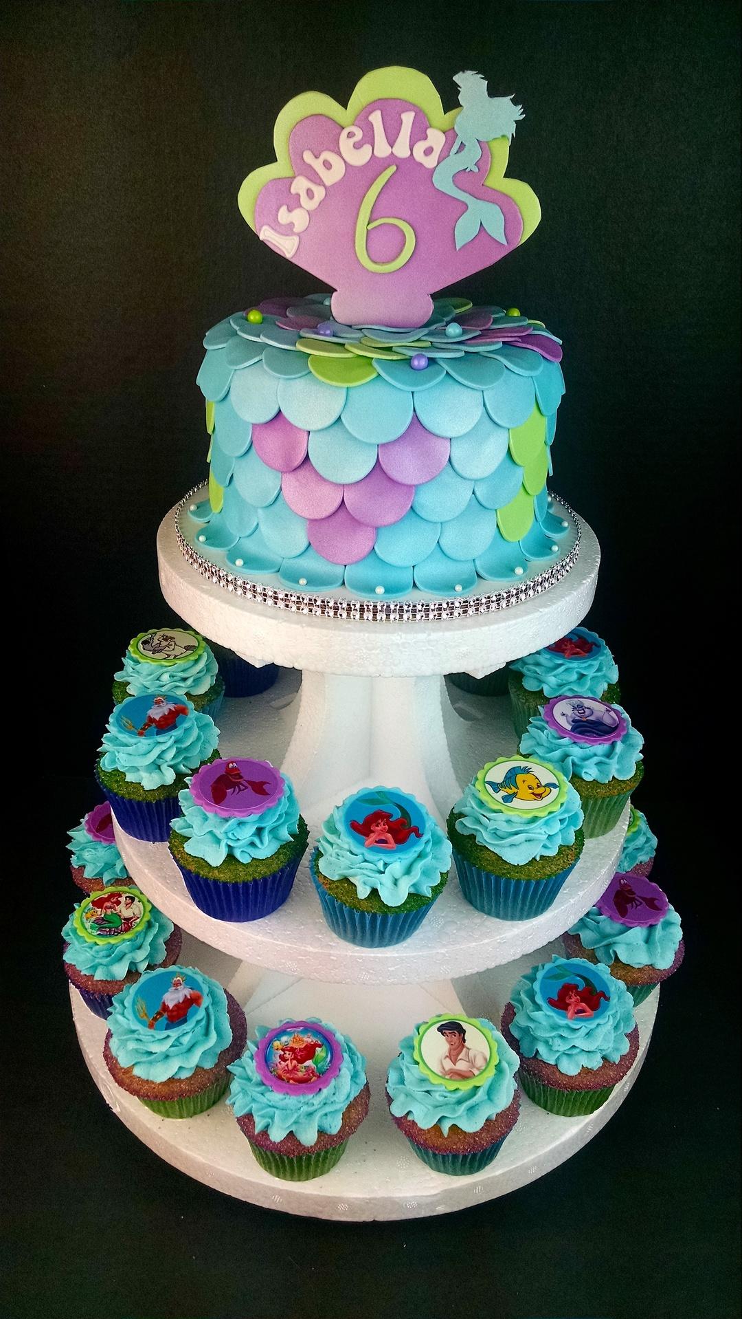 Isabella's Mermaid Cake & Cupcakes