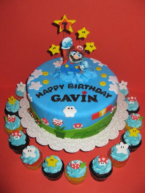 Gavin's Super Mario Cake with Cupcakes