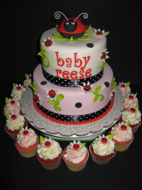 Lady Bug Shower Cake with cupcakes