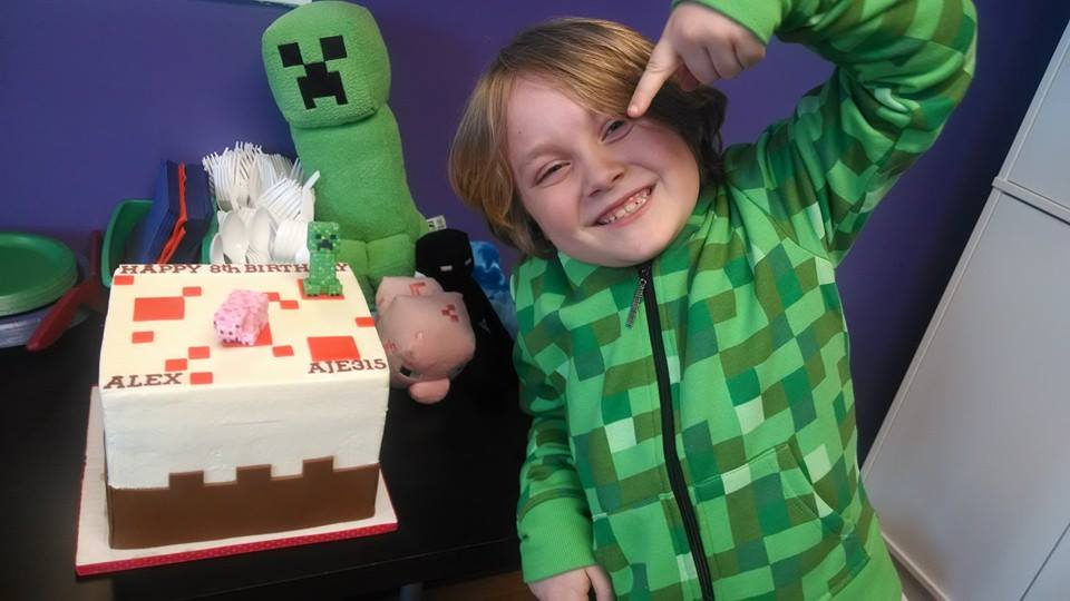Alex and his Minecraft cake