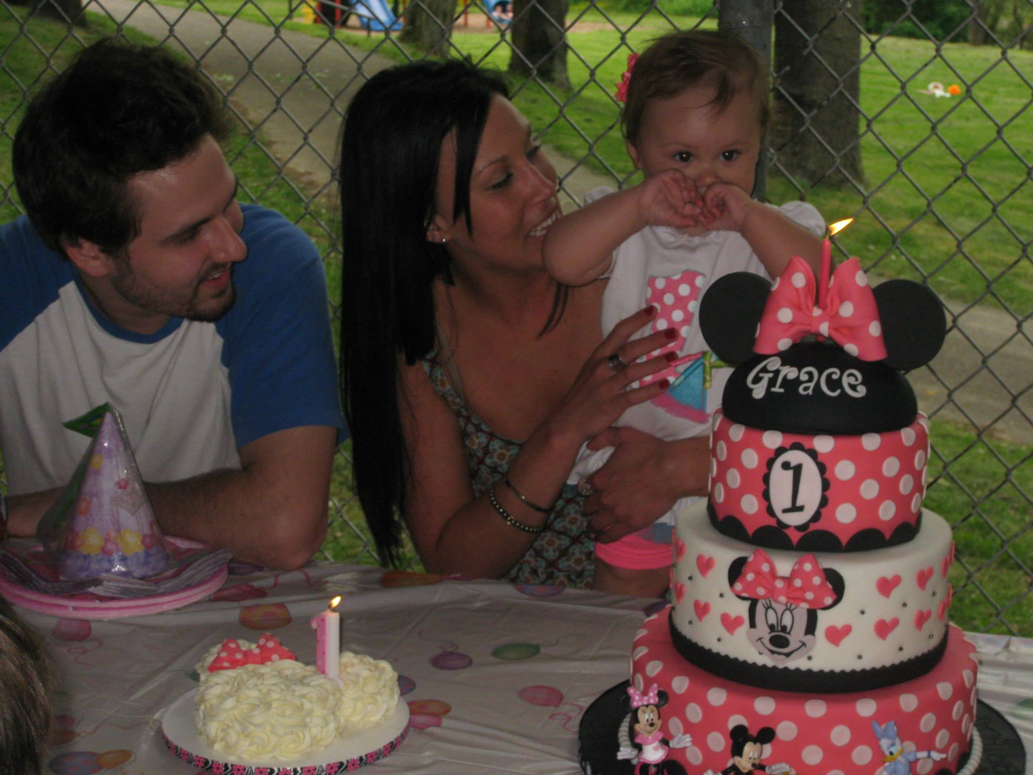 Grace with her Minnie Mouse Cake