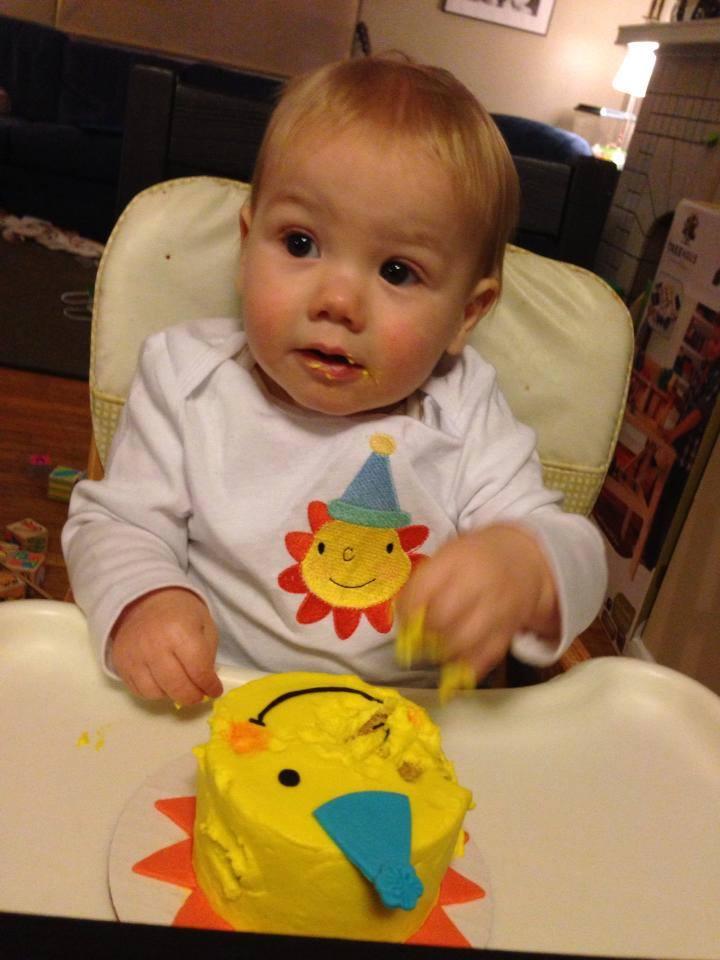 Solomon with his sunshine smash cake