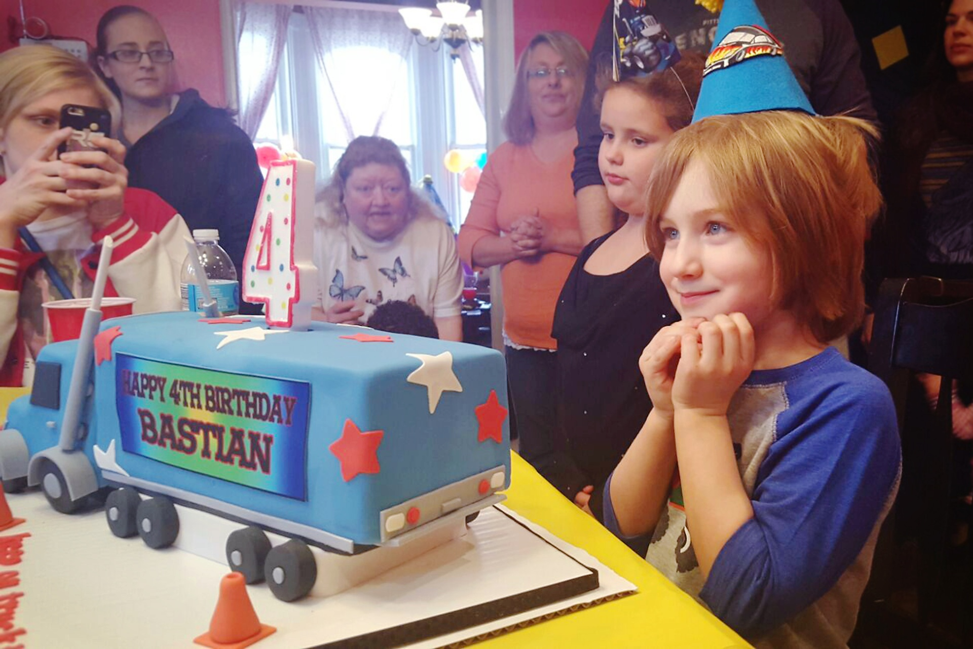 Bastian with his semi truck cake
