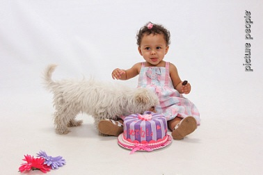 Sophia and Her Puppy On Her 1st Birthday