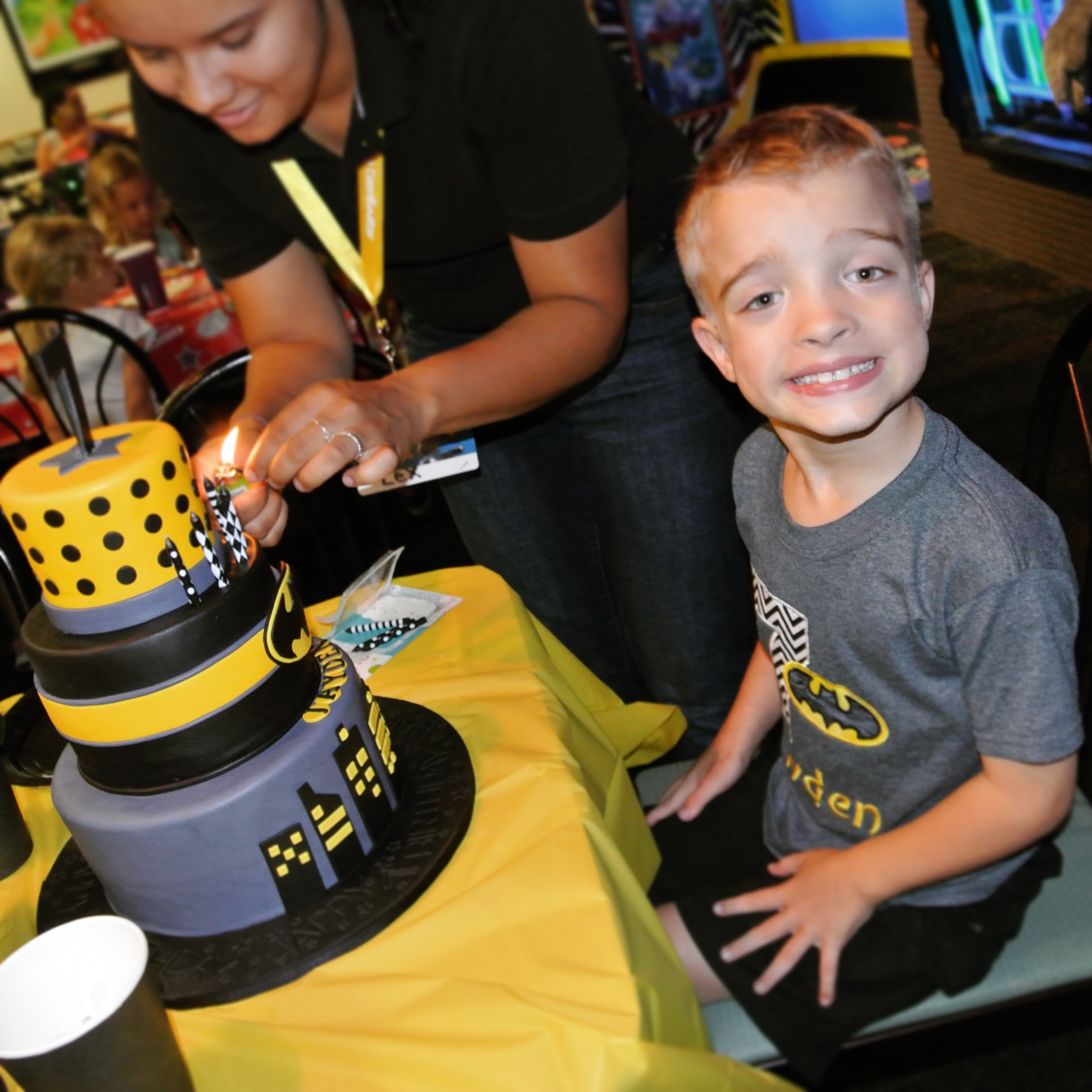 Eric with his batman cake