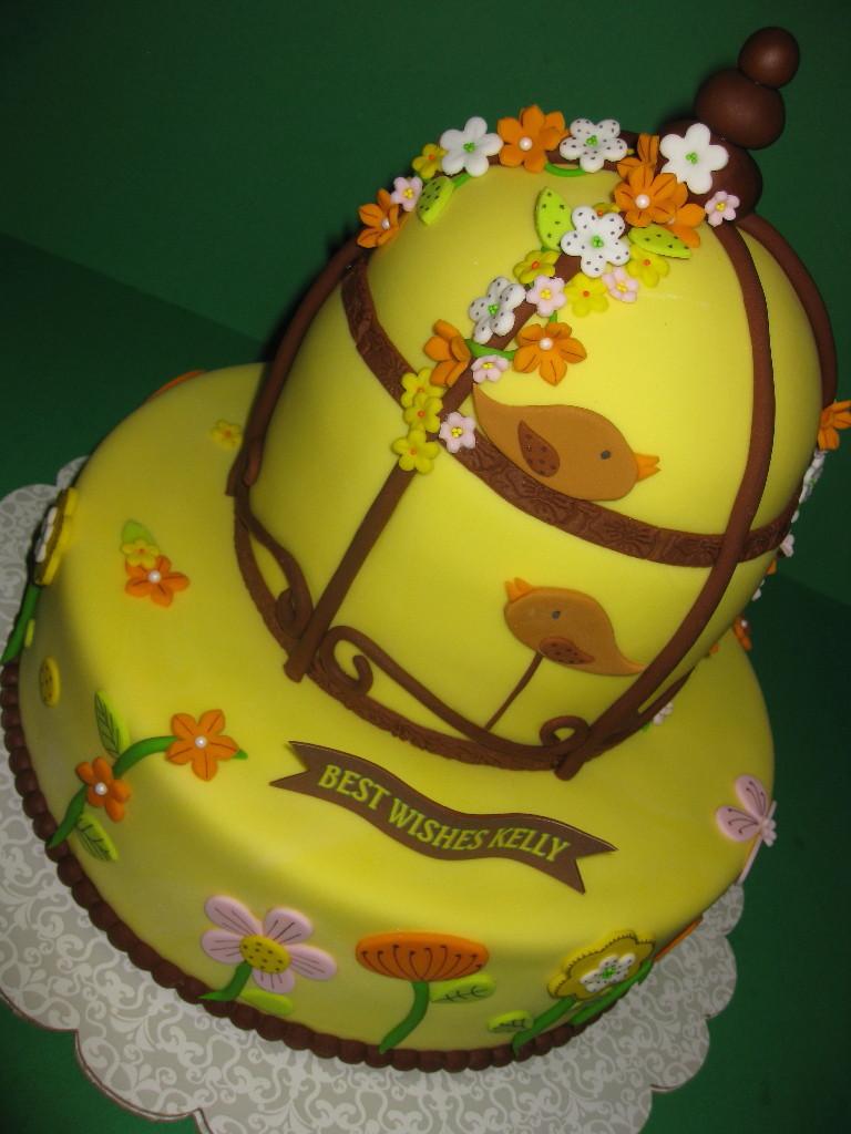 Kelly's Bird Cage & Wild Flowers Bridal Shower Cake