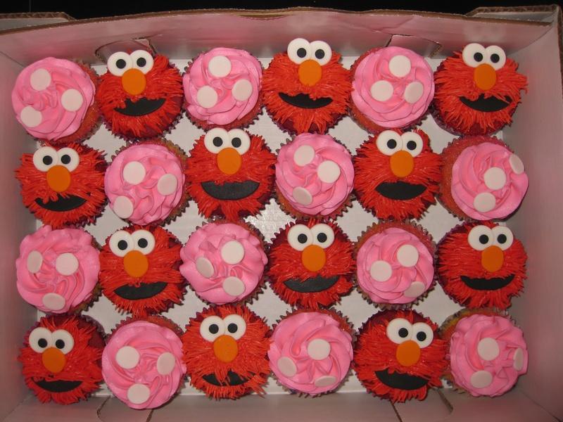 Red velvet and vanilla cupcakesElmo cupcakes @ $30 per dozen