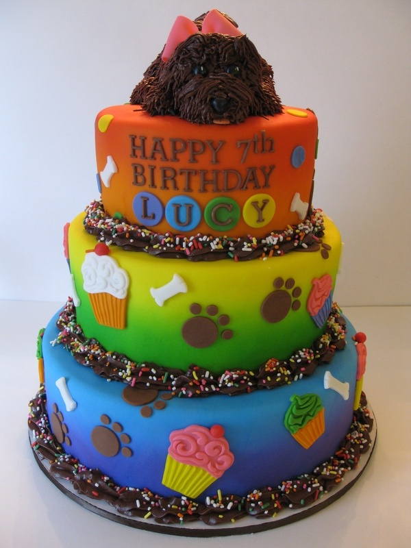 Lucy S Rainbow Puppy Birthday Cake