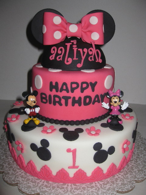 Alliyahs Minnie amp Mickey Mouse 1st Birthday Cake