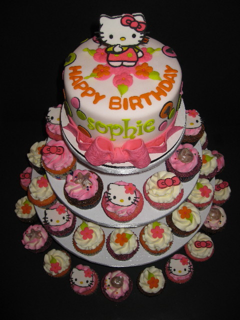 Sophie's Hello Kitty Birthday Cake & Cupcake