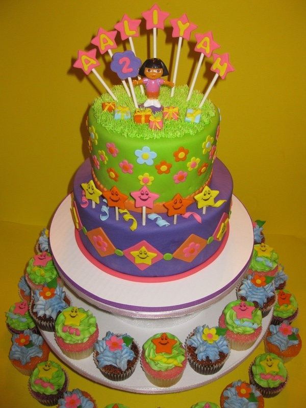 Aaliyahs Dora Birthday Cake amp Cupcakes