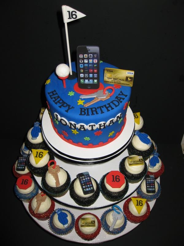 Jonathans 16th Birthday Cake amp Cupcakes