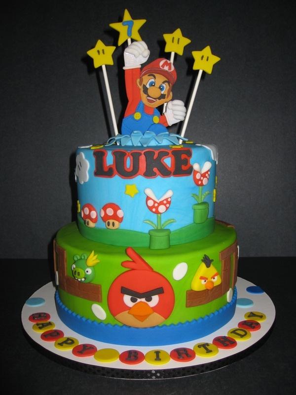 Luke's Super Mario/Angry Birds Cake