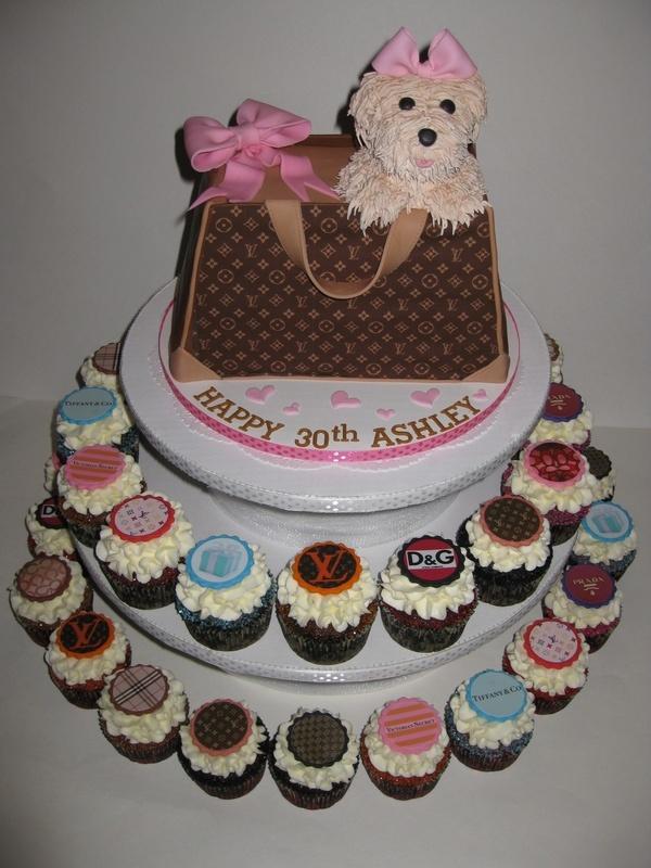 Ashleys Hand Bag Birthday Cake And Designer Cupcakes
