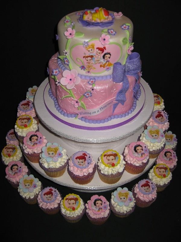 Janice's Baby Princesses Shower Cake & Cupcakes