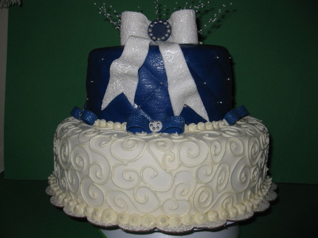 Shana's Blue & White Shower Cake